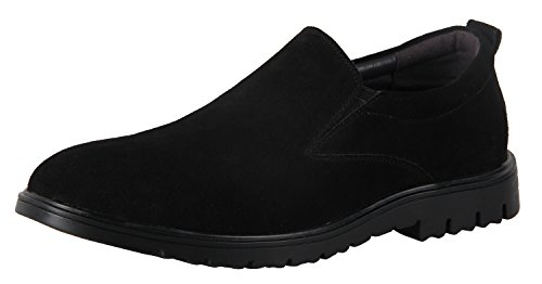iLoveSIA Men's Suede Leather Casual Slip-ONS Walking Loafer Shoe Black US 7.5