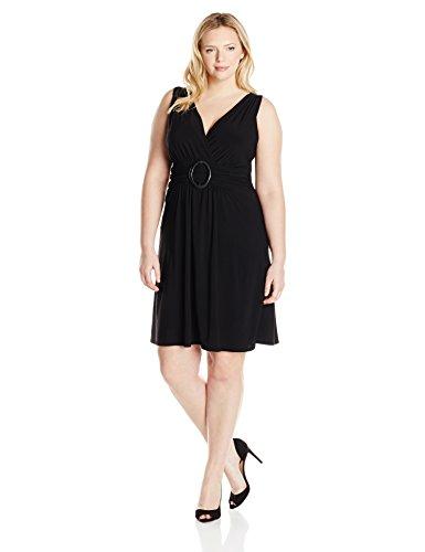 (Star Vixen Women's Plus-Size Sleeveless O-Ring A-Line Dress, Black Solid, 1X)