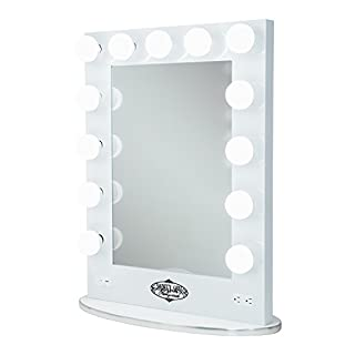 White Vanity Girl Broadway Lighted Vanity Mirror with 2 Outlets and Dimmer Switch - 13 Makeup-Ready Bulbs Around A Tabletop or Wall Mounted Vanity