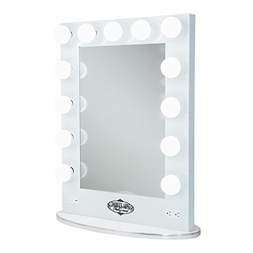 White Vanity Girl Broadway Lighted Vanity Mirror With 2 Outlets And Dimmer Sw