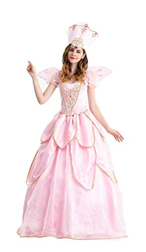 Women's Fairy Godmother Costume Halloween Retro Court Suit Stage Show Princess Dress (Large) Pink -