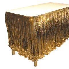 Gold Metallic Fringed Table Skirt by Windy City Novelties