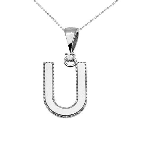 """Collier Femme Pendentif 14 Ct Or Blanc Poli Élevé Milgrain Solitaire Diamant """"U"""" Initiale (Livré avec une 45cm Chaîne)"""