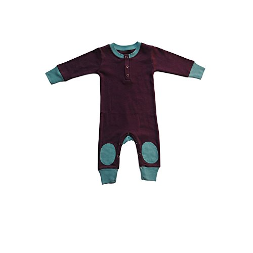 Cat & Dogma - Certified Organic Infant/Baby Clothes Eggplant/Aqua Playsuit (18-24 Months)