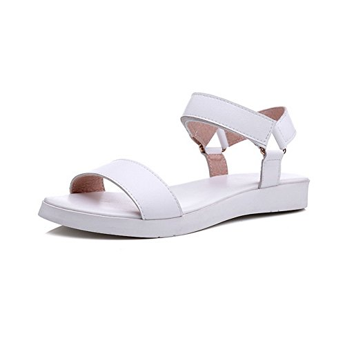 Heels Loop Womens Hook Toe Sandals Leather Cow Low White and AmoonyFashion Solid Open Z1UTAw