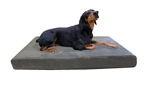 55''x47''x4'' Gray Colored Washable Microfiber Suede Waterproof Orthopedic True Solid High Density Memory Foam Therapeutic Pad Pet Super Big Dog Bed Crate FREE 2nd External Washable Cover ()