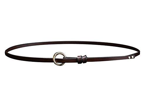 ide Full Grain Leather Solid Color Casual Stylish Dress Vintage Skinny Belt for Jeans Shorts Pants Dark Brown (Belted Cowhide Belt)