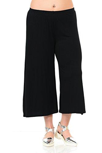 Stretch Wide Leg Crop Pants - Pastel by Vivienne Women's Wide Leg Crop Culottes Plus Size XXX-Large Black