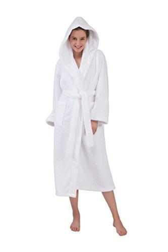 Hood White Clothing (Bagno Milano Wellsoft Plush Hooded Robe White S-M Comfortable, Soft, Stylish Bathrobe with Hood for Women | Made in Turkey |)