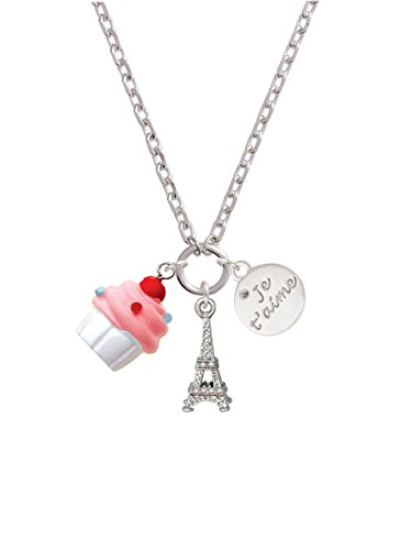 Resin White Cupcake with Pink Frosting Je T'aime Paris Zoe Necklace