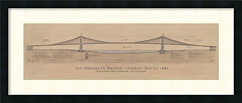 (Framed Art Print, 'Brooklyn Bridge' by Craig S. Holmes: Outer Size 40 x 17
