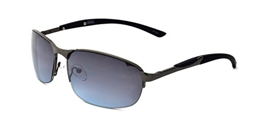 Dickies Men's Semi-Rimless Sunglasses, Gunmetal Shiny Frame, Brown Blue Mirror Lens, - Dickie Sunglasses