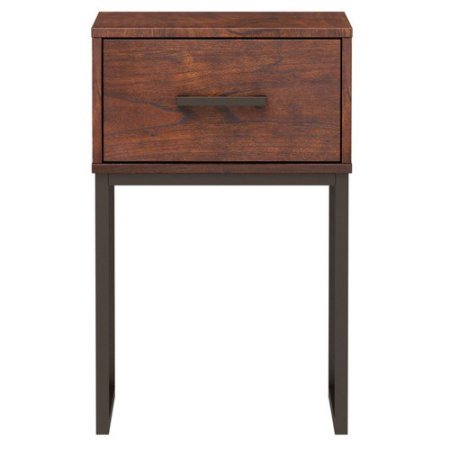 Night Stand Metal And Cherry Wood With 1 Drawer Nightstand, This Space Saving Bedside Table Is Perfect In your Bedroom