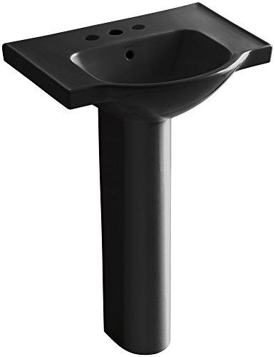 KOHLER K-5266-4-7 Veer Pedestal Bathroom Sink with 4-Inch Centerset Faucet Holes, 24-Inch, Black