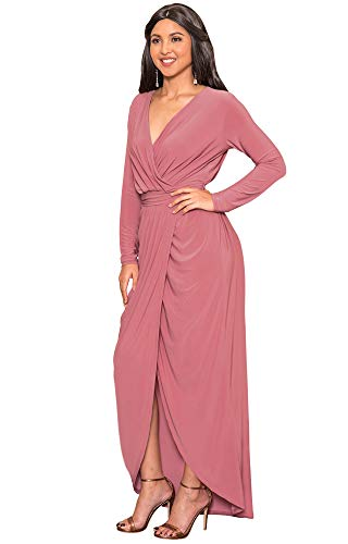 KOH KOH Womens Long Sleeve Full Length V-Neck Sexy Wrap Empire Waist Formal Winter Fall Cocktail Wedding Evening Gown Gowns Maxi Dress Dresses, Cinnamon Rose Pink L 12-14