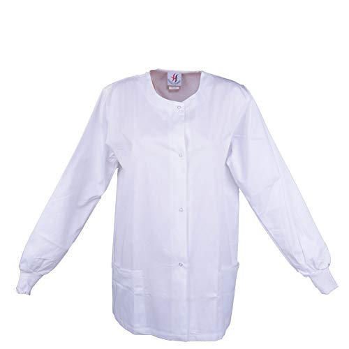 (MEDICLE SCRUBS Scrub Warm Up Jacket for Women Men Workwear Medical Uniform with Ribbed Cuffs for)