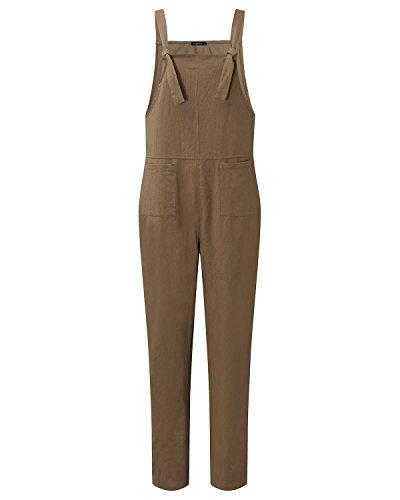 Jumpsuit Marron Sarouel Salopette Styledome Ample Coton Pantalon Femme Combinaison Casual Harem Large xvSPq
