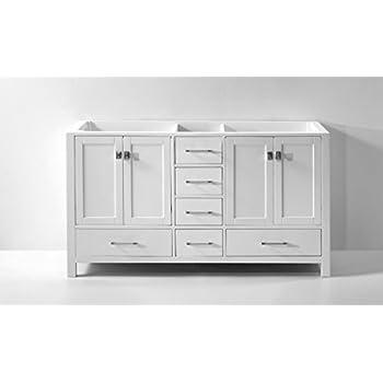 "Virtu USA GD-50060-CAB-WH Caroline Avenue 60"" Double Bathroom Vanity Cabinet, White"