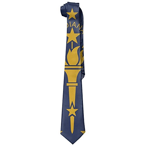 Mens Neck Tie Indiana State Flag Silk Polyester Necktie Fashion Tie (Flag Silk Polyester)