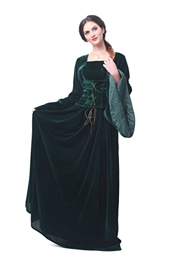 Nuoqi Women's Classic Lolita Fancy Victorian Dress Green Renaissance Costumes (2)