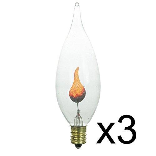 3 FLICKER FLAME CLEAR LIGHT BULB 3w 3 watt CA-8 CANDELABRA BASE FIRE