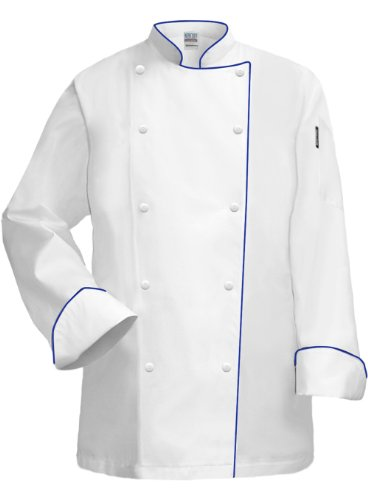 Newchef Fashion White Lady Chef Coat with Royal Blue Trim 3XL White by Newchef Fashion
