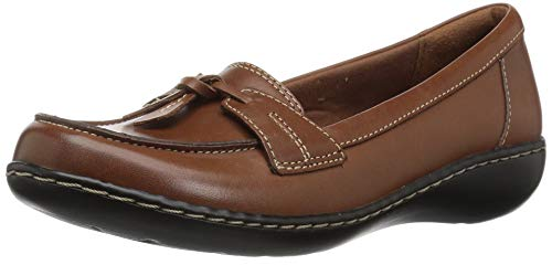 CLARKS Women's Ashland Bubble Slip-On Loafer, Tan Leather, 9 M US