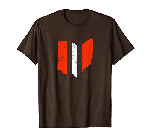 Ohio Cleveland Stripe Football Fan T-Shirt