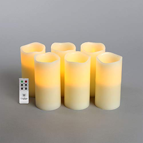 Ivory 6 Flameless Pillar Candles, Set of 6, Melted Edge Wax, Warm White LEDs, Batteries and Remote Included - Set of 6