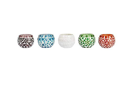 (Lalhaveli Home Decor Candle Holders Mosiac Glass 3 Inch )