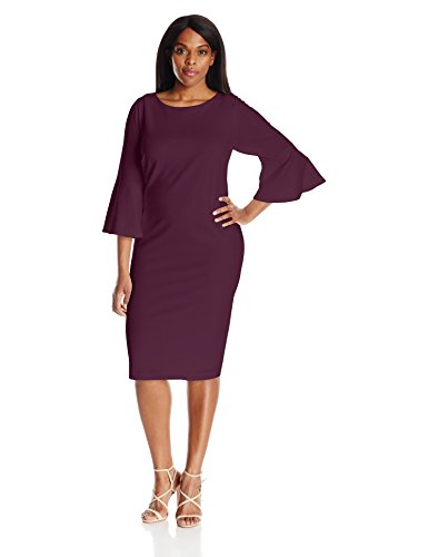 Calvin Klein Women\'s Plus Size 3/4 Peplum Sleeve Sheath Dress