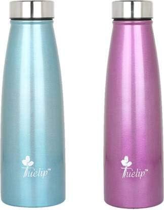 Tuelip Combo Sports Stainless Steel Water Bottle for School Kids Girls & Boys,College,Gym,Sports 750 ML (Blue, Purple) Set of 2