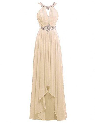 Chiffon Beaded Long Halter Dress - 9