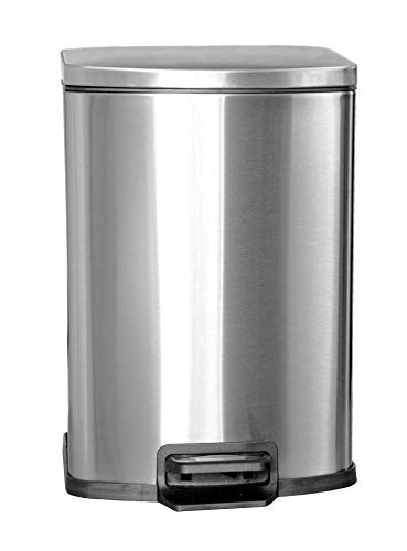 / 20 Liter Brushed Stainless Steel Step-on Trash Can Fingerprint Resistance with Removable Bucket Fits in Kitchen, Bedroom & Office ()