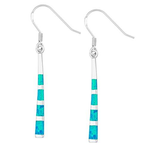 Created Opal Dangle Earrings - Sterling Silver Created Blue Opal Long Dangle Earrings