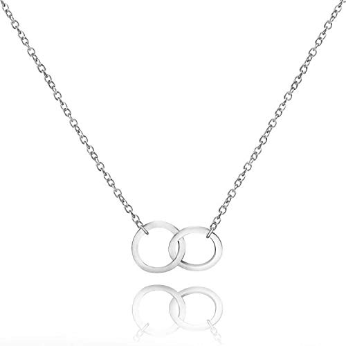 KUIYAI Mother in Law Necklace Two Interlocking Infinity Double Circles Necklace Mothers Day Jewelry Birthday Gift Mother Daughter Jewelry (Silver)