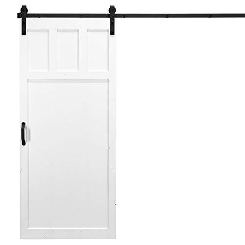 36 in. x 84 in. Craftsman White Interior Barn Door with Hardware Kit