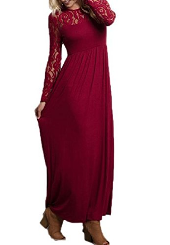 Wine Coolred Red Lace Women Solid Long Dress Crewneck Floor Sleeve Length qZpqazx