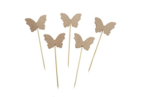 Butterfly Gold Glitter - Glitter Rose Gold Butterfly Wedding Bridal Shower Baby Shower Birthday Party Cupcake Toppers Valentine's Day Cupcake Toppers, 24 Pack