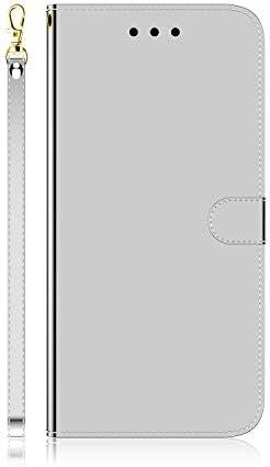 Docrax Galaxy S20+ (S20Plus) ケース 手帳型 スタンド機能 財布型 カードポケット マグネット ギャラクシーS20プラス 手帳型ケース レザーケース カバー - DOTXI170229 銀