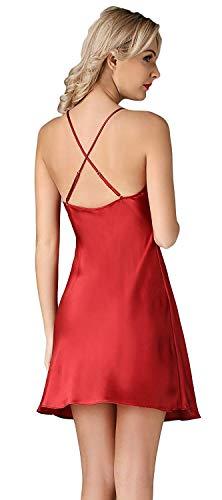 Sling Espalda Sin Unicolor De Fashionista Pijama Mujer Vestido Camisón Dormir Camisones Verano Rot Casuales Elegantes Mangas Silk Descubierta Cómodo xwYXfwqt
