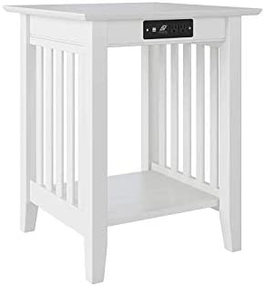 Atlantic Furniture Mission Printer Stand with Charging Station, White