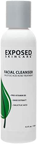 Exposed Skin Care Facial Cleanser Acne Treatment Step 1 – Complete Breakout Eliminating Face Wash for Teens/Adults - Gentle Natural Tea Tree and Salicylic Acid - 4 Fluid Ounces
