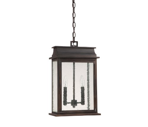 Capital Lighting 9666OB Bolton 2-Light Exterior Hanging Pendant, Old Bronze Finish with Seedy (Old World Outdoor Lighting)