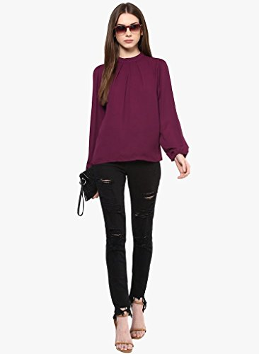 the bebo Solid Full Sleeve Crepe Straight Top