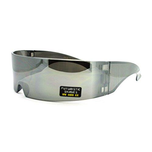 Futuristic Robotic Daft Punk Monoblock Shield Rimless Wrap Sunglasses - Rimless Monoblock Sunglasses