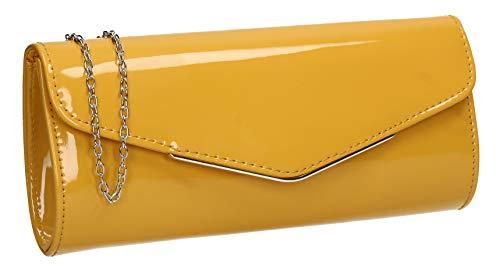 SWANKYSWANS Ariel Patent Envelope Clutch Bag Yellow