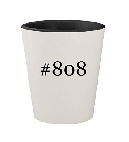 #808 - Ceramic Hashtag White Outer & Black Inner 1.5oz Shot Glass