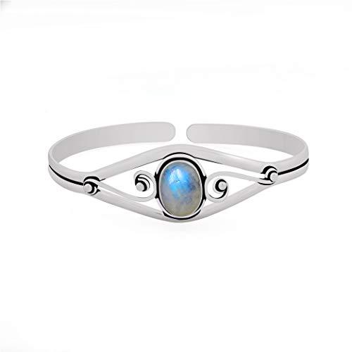 13.50gms, 6.00ct Genuine RainbowMoonstone .925 Silver Overlay Handmade Fashion Cuff Bangle Jewelry