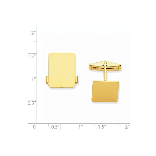 14k Solid Yellow Gold Rectangular Cuff Links by Mia Diamonds and Co. (Image #1)